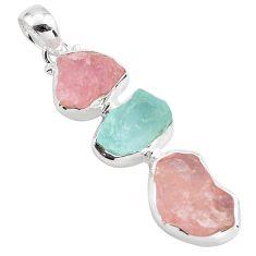 15.02cts natural pink morganite rough aquamarine rough 925 silver pendant p88093