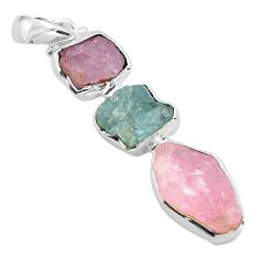 14.47cts natural pink morganite rough aquamarine rough 925 silver pendant p88152