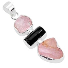 13.55cts natural pink morganite rough tourmaline rough 925 silver pendant p35142