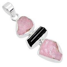 13.55cts natural pink morganite rough tourmaline rough 925 silver pendant p35198