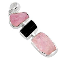 17.57cts natural pink morganite rough tourmaline rough 925 silver pendant p88021