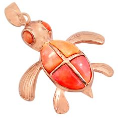 4.82cts natural pink opal 925 sterling silver 14k rose gold turtle pendant c4372
