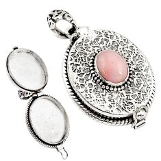 4.41cts natural pink opal 925 sterling silver poison box pendant jewelry p79868