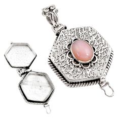 3.86cts natural pink opal 925 sterling silver poison box pendant jewelry p79937
