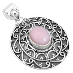 4.02cts natural pink opal oval 925 sterling silver pendant jewelry p33527