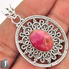 10.54cts NATURAL PINK RHODONITE 925 STERLING SILVER PENDANT JEWELRY E10683