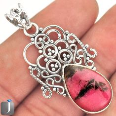 10.91cts NATURAL PINK RHODONITE 925 STERLING SILVER PENDANT JEWELRY E10686