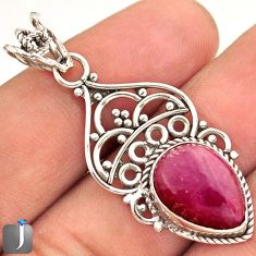 6.68cts NATURAL PINK RHODONITE 925 STERLING SILVER PENDANT JEWELRY E14681