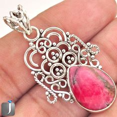 7.19cts NATURAL PINK RHODONITE 925 STERLING SILVER PENDANT JEWELRY E14684