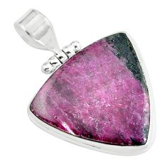 Clearance Sale- 28.30cts natural pink rhodonite in black manganese 925 silver pendant d31731