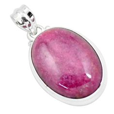 32.14cts natural pink rhodonite in black manganese 925 silver pendant p57893