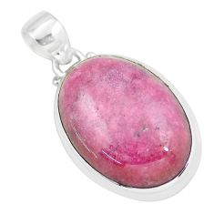 32.12cts natural pink rhodonite in black manganese oval silver pendant p57897