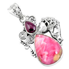 Clearance Sale- 14.88cts natural pink rhodonite in black manganese silver fish pendant d31090