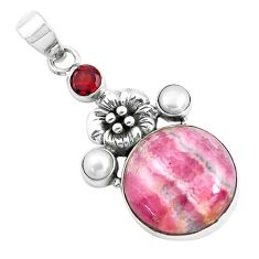 17.22cts natural pink rhodonite in black manganese silver flower pendant d31096