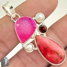 22.62cts NATURAL PINK RHODONITE RUBY DRUZY 925 STERLING SILVER PENDANT E11059