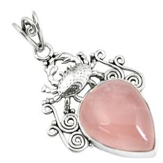 20.35cts natural pink rose quartz 925 sterling silver crab pendant p59785
