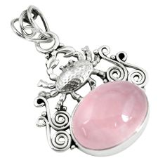 13.41cts natural pink rose quartz 925 sterling silver crab pendant p59786