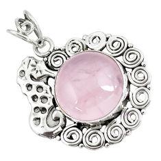 16.93cts natural pink rose quartz 925 sterling silver seahorse pendant p59771