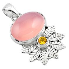 13.71cts natural pink rose quartz citrine 925 silver deltoid leaf pendant p84662