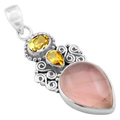 15.39cts natural pink rose quartz citrine 925 sterling silver pendant p84721