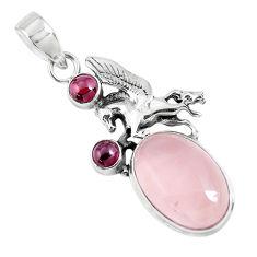 17.81cts natural pink rose quartz garnet 925 silver horse pendant p47282