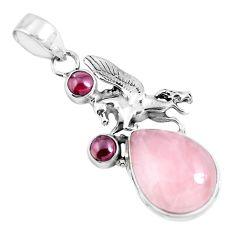 13.22cts natural pink rose quartz garnet 925 silver horse pendant p47288