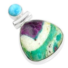 19.23cts natural pink ruby in fuchsite larimar 925 silver pendant jewelry d31743