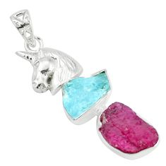Natural pink ruby rough aquamarine rough 925 silver horse pendant p35452