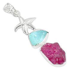 Natural pink ruby rough aquamarine rough 925 silver star fish pendant p35444