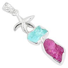 Natural pink ruby rough aquamarine rough 925 silver star fish pendant p35450