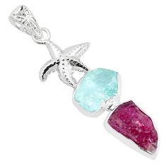 Natural pink ruby rough aquamarine rough 925 silver star fish pendant p35451