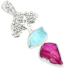 Natural pink ruby rough aquamarine rough 925 silver tree of life pendant p35447