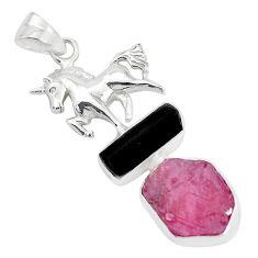 Natural pink ruby rough tourmaline rough 925 silver horse pendant p35363