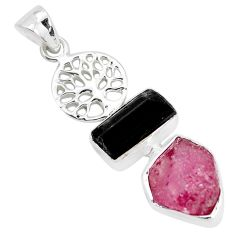 Natural pink ruby rough tourmaline rough 925 silver tree of life pendant p35381