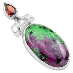 22.05cts natural pink ruby zoisite garnet 925 sterling silver pendant p85514