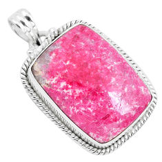 24.46cts natural pink thulite (unionite, pink zoisite) 925 silver pendant p40836