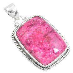 27.08cts natural pink thulite (unionite, pink zoisite) 925 silver pendant p40838