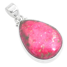 22.02cts natural pink thulite (unionite, pink zoisite) 925 silver pendant p46181