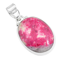 19.20cts natural pink thulite (unionite, pink zoisite) 925 silver pendant p46188