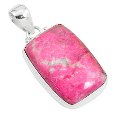 22.05cts natural pink thulite (unionite, pink zoisite) 925 silver pendant p46200
