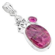 17.20cts natural pink tourmaline 925 silver cupid angel wings pendant p59037