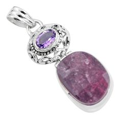 18.94cts natural pink tourmaline amethyst 925 sterling silver pendant p59046