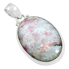 19.23cts natural pink tourmaline in quartz 925 sterling silver pendant d31816