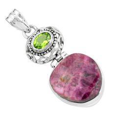 19.23cts natural pink tourmaline peridot 925 sterling silver pendant p59060