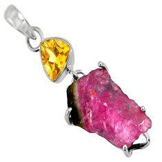 15.89cts natural pink tourmaline rough citrine 925 silver pendant d32522