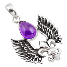 5.62cts natural purple amethyst 925 silver feather charm pendant jewelry p86853
