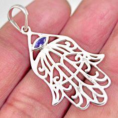 1.08cts natural purple amethyst 925 silver hand of god hamsa pendant c5529