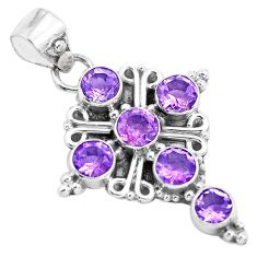 5.11cts natural purple amethyst 925 sterling silver holy cross pendant p36005