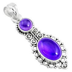 6.84cts natural purple amethyst 925 sterling silver pendant jewelry p39428