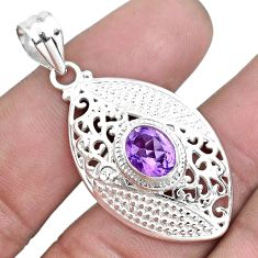 3.01cts natural purple amethyst 925 sterling silver pendant jewelry p43098